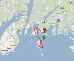 """Lindesnes historielags tur med """"Rubb"""" fra Åvik til Vårøy, Imsøysundet og Finnøysundet."""