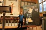 Oskar Skog avduket mosaikk-maleriet av Peder Claussøn Friis laget av elever ved Spangereid skole.